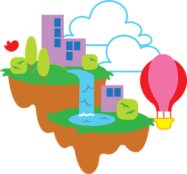 Islands, Floating, Fantasy, Sky, Clouds, Landscape