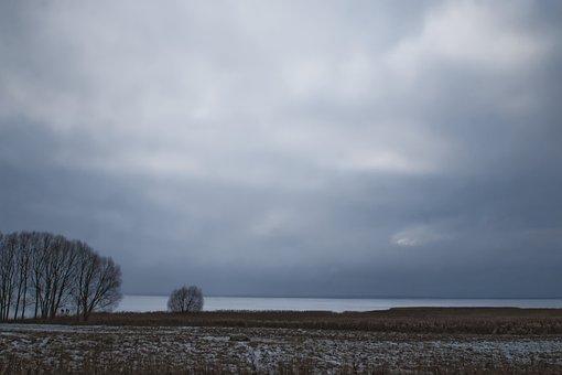 Winter, Landscape, Loneliness, Twilight, Panorama, Sky