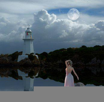 Lighthouse, Reflection, Water, Fantasy, Sky, Lake, Calm