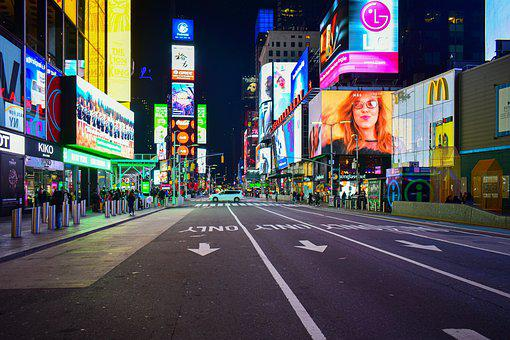 Times Square, New York City, New York, Nyc, Neon