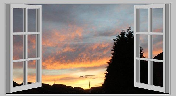 View, Open Window, Sky, Cloud, Tree, Roofs, Street