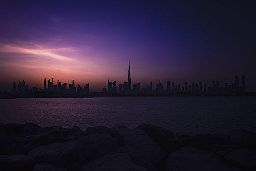 Dubai, Skyline Sunrise, Sunset, Tower, Building