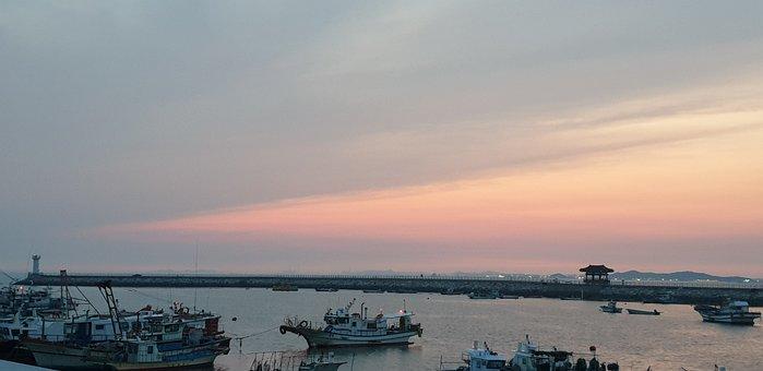 Port, Sunset, Ship