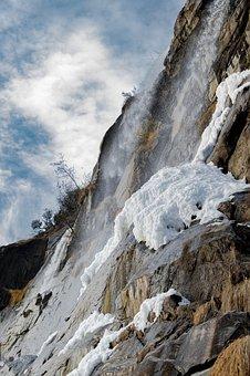 Waterfall, Ice, Snow, Winter, Mountain, River, Water