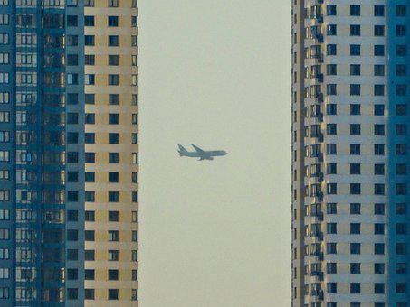Buildings, Airplane, Architecture, Facade, High-rise