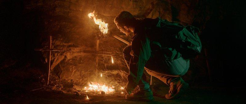 Man, Bonfire, Cave, Campfire, Fire, Trekking, Backpack