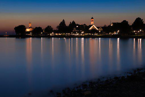Lake Constance, Town, Evening, Lake, Reflection, Water