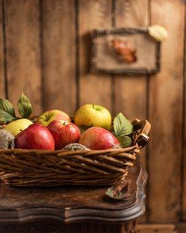 Apples, Fruits, Basket, Rustic, Healthy, Food, Ripe