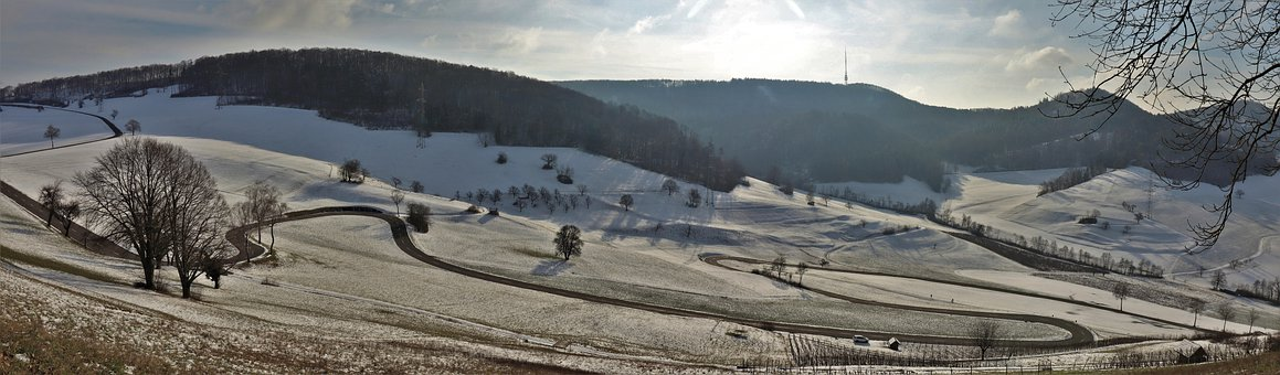 Snow, Fields, Panorama, Winter, Hills