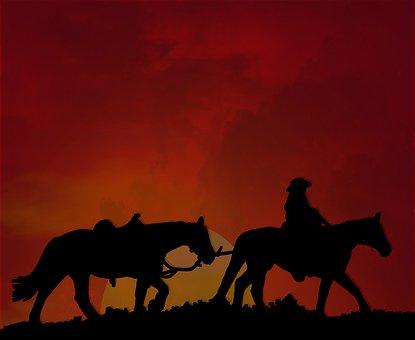 Horseback, Cowboy, Horses, Leading, Sun