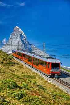 Train, Locomotive, Railway, Mountain, Matterhorn