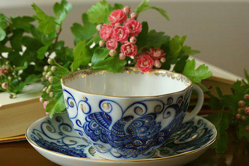 Cobalt Cup, A Cup Of Tea, Plate, Porcelain, Glass