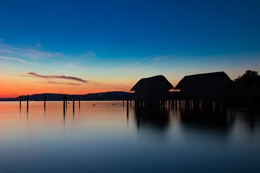 Lake Constance, Pile Dwelling Museum, Sunset