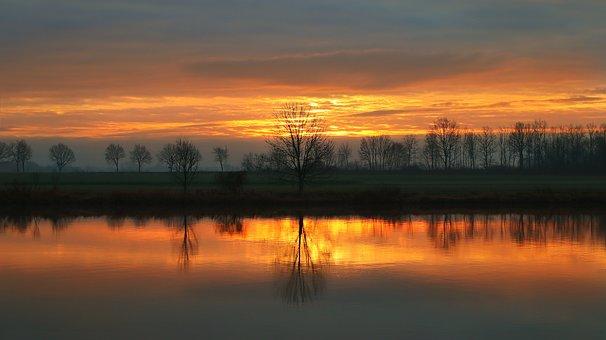 Sunrise, River, Trees, Fields, Bank, River Bank, Sunset