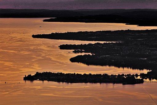 Lake Constance, Town, Sunset, Silhouette, Lake, Water