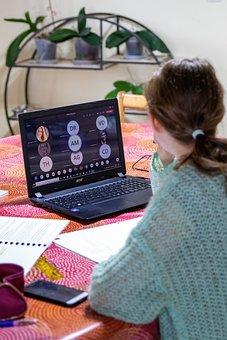 Telework, E-learning, Girl, Laptop, Home, Woman