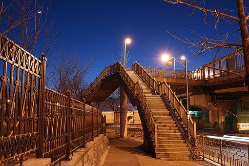 Bridge, Overpass, Architecture, Night, Sky, Moon