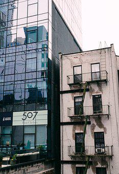 Old And New, Contrast, New York, Architecture, City