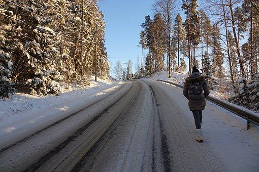 Snow, Frozen, Road, Walker, Winter, Cold, Landscape