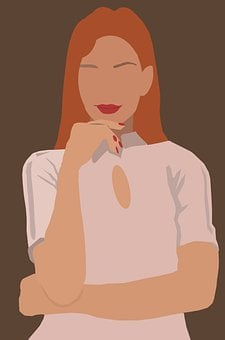 Woman, Girl, Pensive, Smiling, Long Hair, Red Lips