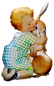Retro Easter, Baby, Rabbit, Spring, Vintage, Easter