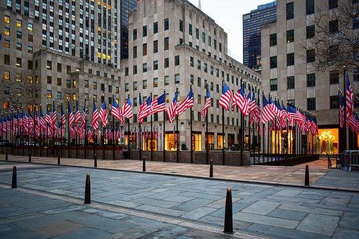 Rockefeller Center, Empty, American Flags, Flags