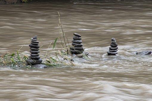 Balance, Stones, River, Water, Zen, Flow, Pyramid