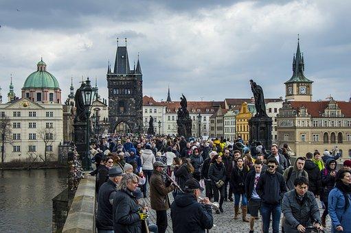 Prague, Crowd, Bridge, City, People, Buildings, Tower
