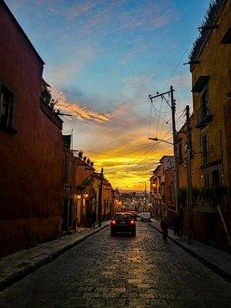 Sunset, Street, Buildings, Dusk, Twilight, Car, Alley