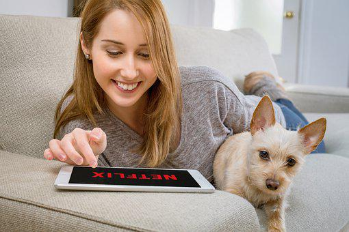 Woman, Dog, Netflix, Tablet, Streaming, Video, Movies