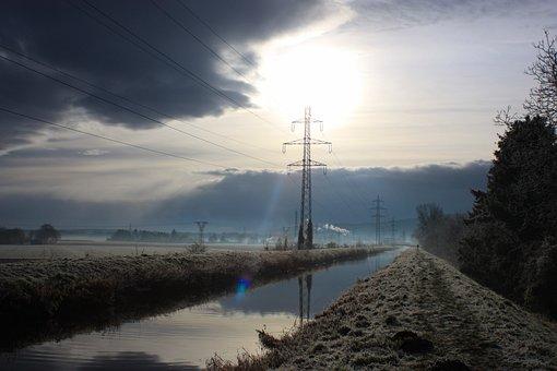Winter, Canal, Powerlines, Overhead Power Lines, Fields