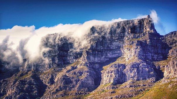 Table Mountain, Fog, Mountains, Landscape