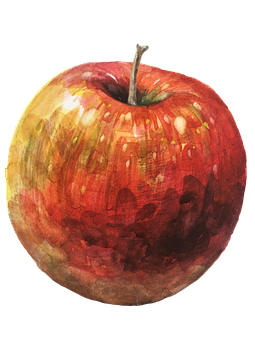Apple, Watercolor, Fruit, Red Apple, Figure, Cut Out