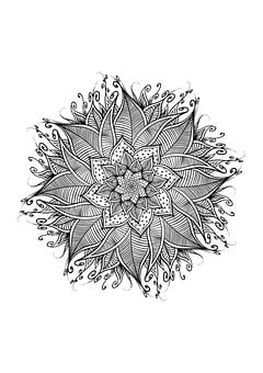 Mandala, Pentacle, Spirals, Flower, Leaves, Floral