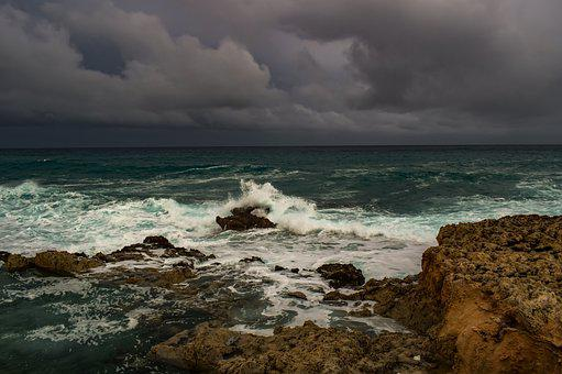 Storm, Rocky Coast, Waves, Beach, Nature, Sky, Clouds