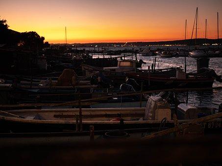 Sunset, Harbor, Boats, Sea, Ocean, Bay, Port, Dusk