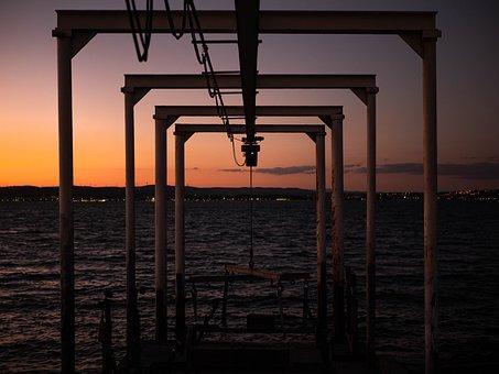 Harbor, Sunset, Sea, Ocean, Water, Structure, Port, Sky