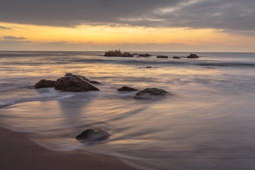 Sunset, Beach, Sea, Ocean, Rocks, Waves, Ocean Waves