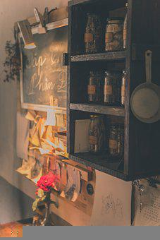 Cafe, Shelf, Jars, Wall Shelf, Containers, Food