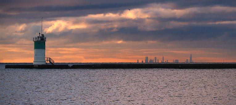 Watchtower, Harbor, Skyline, Sunset, Sunrise, Clouds