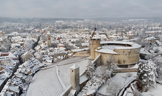 Winter, Snow, Castle, Munot, Oldtown, Town