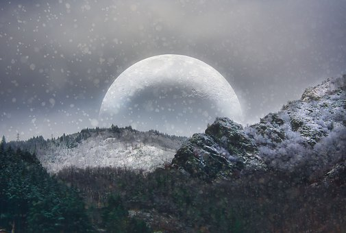 Moon, Snow, Landscape, Night, Winter, Sky, Nature