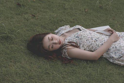 Woman, Sleeping, Grass, Lawn, Sad, Alone