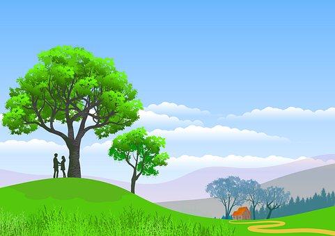 Illustration, Background, Landscape, Nature, Casal