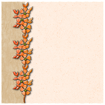 Background, Paper, Orange, Flowers, Border, Scrapbook