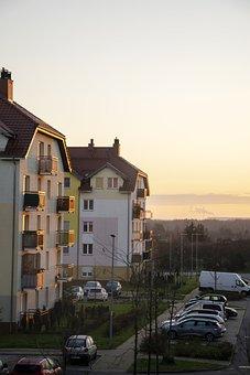 Buildings, Complex, Apartments, Cars, Parking Lot