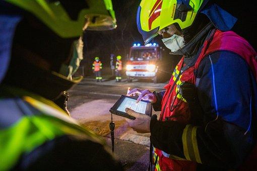 Fire Fighter, Tablet, Fire Truck, Fire