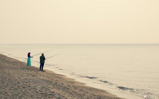 Beach, Fishing, Fishing Rod, Fisherman, Hobby, Leisure