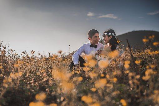 Wedding, Couple, Field, Happiness