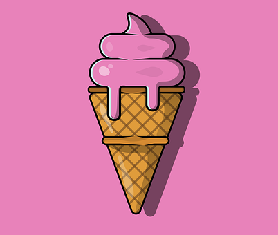 Ice Cream, Cone, Dessert, Sundae, Strawberry